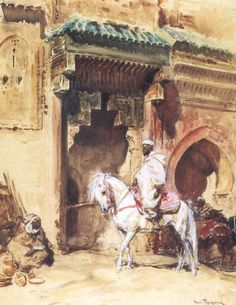 Rider in front of a fountain of Marrakech 1933