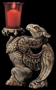 Hippogriff Candle Lamp, Fantasy Candle Holder Figurine w/ votive $92.00
