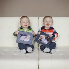 Twin baby boys 1st birthday pictures with their newborn pictures.   Photo Credit: Beth Stafford Photography The Schacher Checker