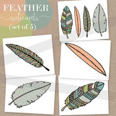 5 hand-drawn Feather Notecards - via #blossomandvine on etsy $12 for set
