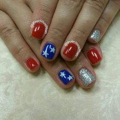 Red white and blue nails. Fourth of July nails. ##PreciousPhanNails