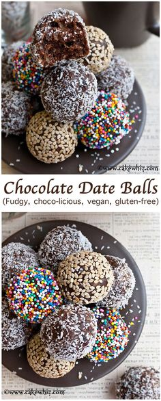 FUDGY CHOCOLATE DATE BALLS balls covered in sprinkles, toasted sesame seeds and shredded coconut. These bite-sized energy balls are healthy, vegan and gluten free! From cakewhiz.com