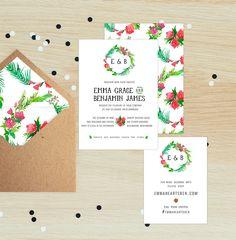 BOTANICAL Wedding Invitation Suite | floral | flowers | Pink | Green| Mango Ink