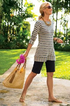 This is a little warm for the dead of summer, but I like these longer classy shorts (with elastic waist) and the casual coastal feel of the top.