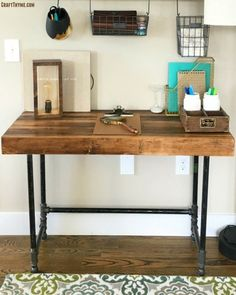 Pipe legged desk and stacked wood top. Pipe legged desk and stacked wood top. Related posts: Build Your Own CUSTOM All Wood Desk Top Pipe Desk, Pipe Table, Pipe Lamp, Ikea, Wooden Desk, Rustic Desk, Industrial Lamps, Industrial Furniture, Vintage Industrial