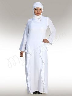 Binesh White Abaya !   Style No: Ay-117WT    Shopping Link  : http://www.mybatua.com/binesh-white-abaya   Available Sizes XS to 7XL (size chart: http://www.mybatua.com/size-chart/#ABAYA/JILBAB)