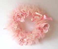 Items similar to The Gracynn Wreath - Vintage Style Shabby Chic Tutu Tulle Wreath- Pink and Neutrals with varied pearl accents -lace- feathers on Etsy Decoration Christmas, Christmas Mesh Wreaths, Pink Christmas, Ribbon Wreaths, Yarn Wreaths, Floral Wreaths, Winter Wreaths, Spring Wreaths, Door Wreaths