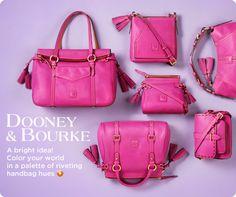 Dooney Bourke Handbags in Pink - Fashion Madame Dooney Bourke, Dress And Heels, Pink Fashion, Celebrity Weddings, Fashion Handbags, Diane Von Furstenberg, Purses And Bags, Fashion Accessories, Monogram