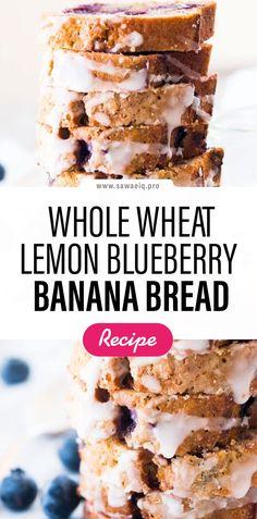 #WholeWheat #Wheat #Lemon #Blueberry #Banana #Bread #BananaBread Healthy Blueberry Bread, Banana Blueberry Muffins, Gluten Free Banana Bread, Easy Banana Bread, Chocolate Chip Banana Bread, Vegan Blueberry Recipes, Banana Berry, Lemon Recipes, Banana Bread Recipes