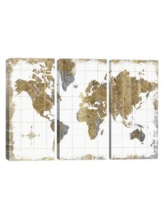 Gilded map by all that glitters canvas print 26x 40 off white all that glitters gilded map gallery wrapped canvas set by icanvas gumiabroncs Images
