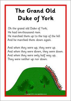 The Grand Old Duke of York song sheet (SB10739) - SparkleBox