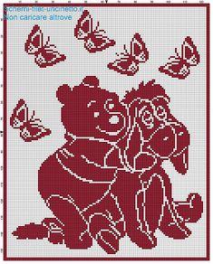 Copertina filet uncinetto Winnie the Pooh e Hi-ho schema filet uncinetto