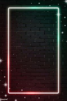 Download premium vector of Rectangle blink neon frame on brick wall
