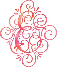 Monogram E Watercolor Coral Pink by junkydotcom