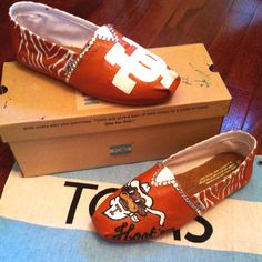 Custom Painted UT Longhorn TOM'S with Rhinestones on White Canvas! SOLD!