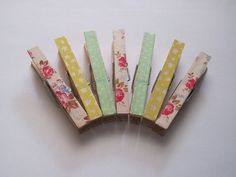 Decorative pegs made with Cath Kidston tape  set by loulalacrafts, $6.50