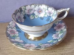 Antique Hand Painted teacup and saucer Royal by ShoponSherman