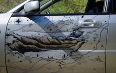Artistic map of the Altai Mountains shown on the car door