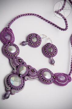 Soutache jewelry: Fioletowy komplet czyli naszyjnik #2 i kolczyki #6