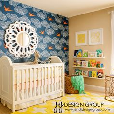 Baby Girl Nursery #coral #yellow #navy #sparrow #wallpaper