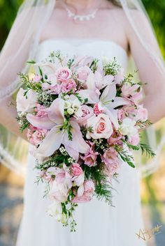 Size and Style - similar flowers, but different colors Bridal Bouquet. Small cascade, light pink lilies and pink roses. Rose And Lily Bouquet, Calla Lily Bridesmaid Bouquet, Lily Bouquet Wedding, Bridal Bouquet Pink, Bride Bouquets, Rose Wedding, Wedding Flowers, Wedding Cake, Spring Wedding