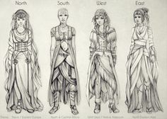 Costumes: North, South, West, East by *vinegar on deviantART