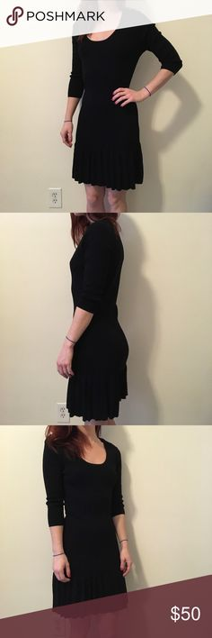 Catherine Malandrino for Design Nation Black Dress Catherine Malandrino for Design Nation black mid sleeve dress with a mid length bottom half and a Pleated bottom hem. Knee length and is a size small. Fabric is stretchy and is in good condition worn once only! Catherine Malandrino Dresses Midi