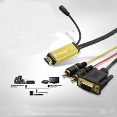 HDMI To VGA Cable With Audio Video RCA Converter Adapter