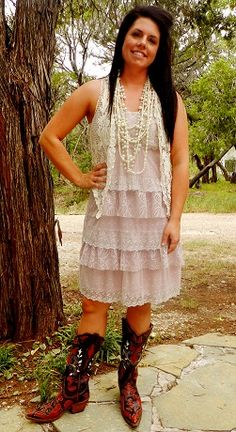 A Cowgirl Pink Vintage Lace Dress