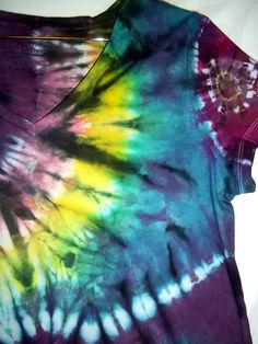 XL womens Brights on Black soft cotton tie dye