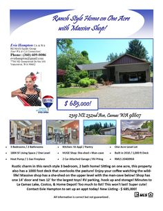 Just Listed! Real Estate for Sale: $685,000-3 Bd/2 Ba Charming One Level Ranch Style Home with Massive Detchd Shop on 1 Acre with RV Hookup & Parking at: 2319 NE 232rd Ave, Camas, Clark County, WA! Area 32. Listing Broker: Evie Hampton (360) 609-0086, RE/MAX Equity Group, Vancouver, WA! #realestate #justlisted #CamasRealEstate #onelevelrealestate #ranchstylehome #threebedroom #shop #massiveshop #sheshed #mancave #oneacre #rvhookup #rvparking #eviehampton #remaxequitygroup