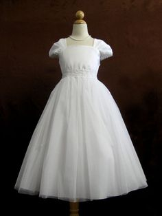 First Communion Dress with Cap Sleeves - LDS Baptism Gowns for Girls