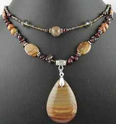 Natural Creek Jasper gemstone pendant,Garnet beads handmade necklace