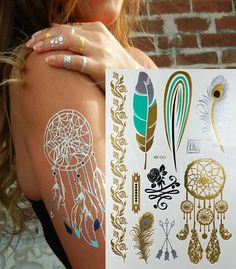 Metallic & Turquoise tattoos