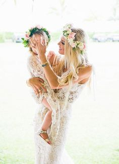 boho flower girl and bride in lace Kauai Wedding, Boho Wedding, Wedding Flowers, Dream Wedding, Wedding Day, Wedding Jewelry, Trendy Wedding, Wedding Veils, Hair Wedding