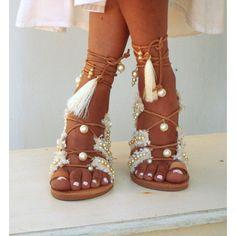 Afrodite Bridal flat sandals, White Beach Wedding Sandals, Fringe,... (235 CAD) ❤ liked on Polyvore featuring shoes, sandals, white leather sandals, flat gladiator sandals, bridal sandals, flat shoes and white gladiator sandals