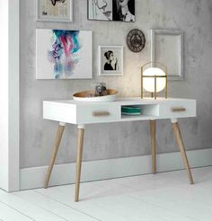 Modern White Desk with Oak Legs and Handles with 2 Drawers Modern White Desk, White Desks, Console Design, Home Interior, Interior Design, Painted Drawers, White Drawers, Deco Design, Scandinavian Design