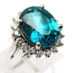 NATURAL BLUE ZIRCON & DIAMOND COCKTAIL RING SOLID 14K WHITE GOLD