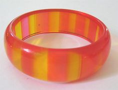 Transparent Pink and Yellow Lucite Bangle Bracelet 1960s