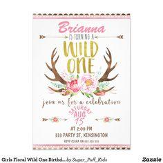 1st Birthday Invitations Girl, Wild One Birthday Party, Girl First Birthday, First Birthday Parties, Birthday Ideas, Special Birthday, Baby Party, Baby Birthday, Birthday Bash