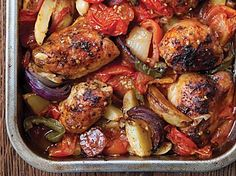 This Hairy Bikers' Spanish chicken bake recipe is a perfect one-pot wonder. The Hairy Bikers have captured the classic flavours of Spain in one dish - and it's one of their diet dishes too! Low Calorie Recipes, Healthy Recipes, Healthy Meals, Dinners Under 500 Calories, Spanish Chicken, Italian Chicken, Cassoulet, Chicken Stuffed Peppers, Chicken Peppers And Onions