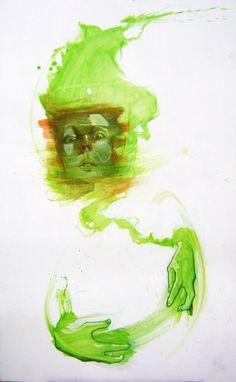 Sainer : stroke02 visual  oil on board 120x70 cm, 2010