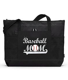 Baseball Mom Sports Tote SILVER GLITTER and A Player's name on a Black Bag Large baseball mom tote bag with zippered main compartment. Two mesh water bottle holders and large side pocket. x x Great equipment bag. Best Foundation Makeup, Makeup Kit Essentials, Baseball Jewelry, Volleyball Mom, Softball, Best Teeth Whitening Kit, Baseball Mom, Silver Glitter, Large Bags