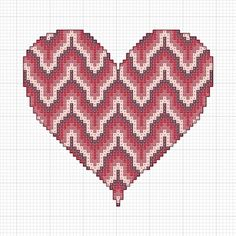 bargello heart pattern | Free Bargello Cross Stitch Valentine's Heart Pattern