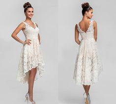 2015 asymmetrical lace wedding dresses bridal gown v neck hi lo ...