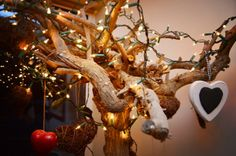 Xmas tree with hearts and lights