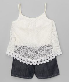 Look what I found on #zulily! Ivory & Denim Lace-Overlay Romper - Infant, Toddler & Girls #zulilyfinds