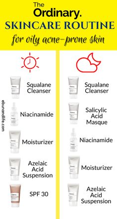 If you have oily skin that is also prone to acne, here is The Ordinary Skincare Routine for you. The Ordinary For Dry Skin, The Ordinary Regimen, The Ordinary Skincare Routine, Face Routine, Skin Care Routine Steps, Dry Acne Prone Skin, Face Skin Care, Acne Scars, Oily Skin Products