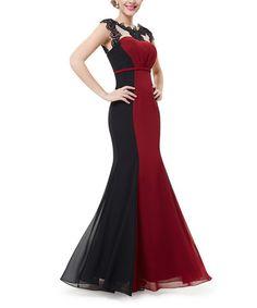 Look at this #zulilyfind! Red & Black Lace-Accent Trumpet Gown #zulilyfinds