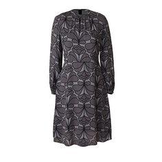 Orla Kiely | UK | clothing | Dresses | Damask Flower Flared Dress (16SWDMF742) | graphite